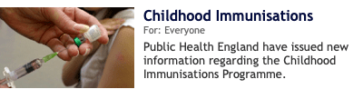New information on childhood immunisation programme